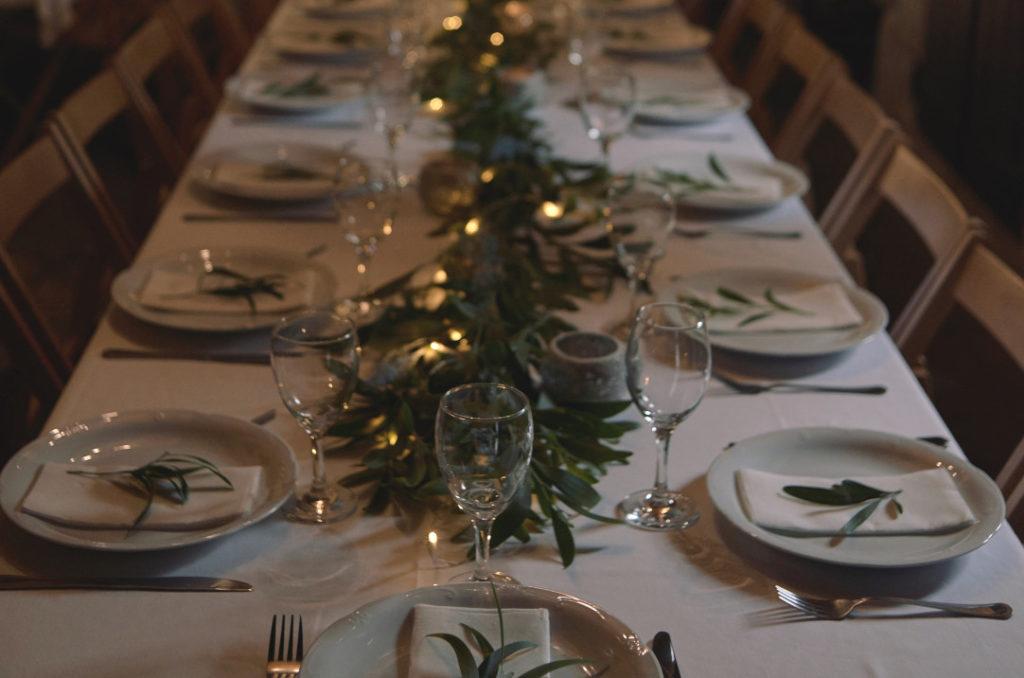 Decoración mesa en boda de pazo trasariz